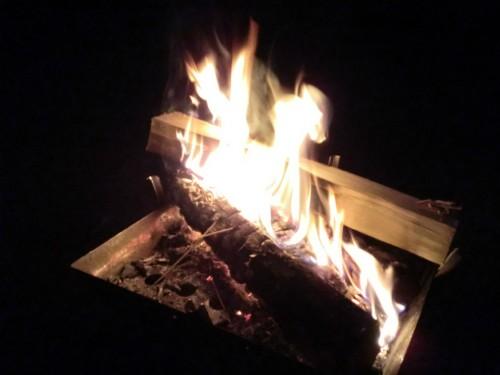 初木もれ陽の森_焚き火の炎